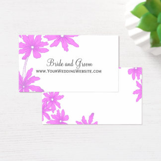 Pink Daisies Wedding Website Card