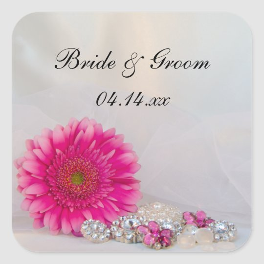 Pink Daisy and Buttons Wedding Envelope Seals