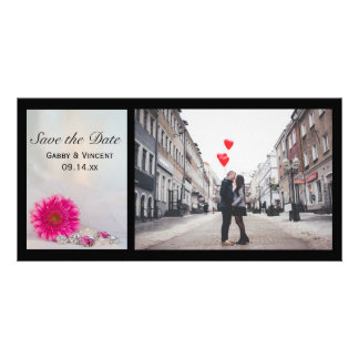 Pink Daisy and Buttons Wedding Save the Date Photo Greeting Card