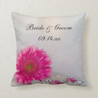 Pink Daisy and Buttons Wedding Throw Pillow