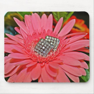 Pink Daisy and Diamonds Mouse Pad