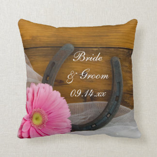 Pink Daisy and Horseshoe Country Western Wedding Throw Pillow