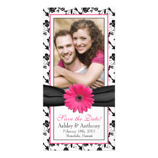 Pink Daisy Black Floral Ribbon Wedding Save Date Photo Greeting Card
