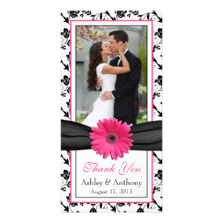 Pink Daisy Black Floral Ribbon Wedding Thank You Photo Cards