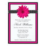 "Pink Daisy Black Polka Dots Bridal Shower 5"" X 7"" Invitation Card"