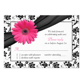 Pink Daisy Black White Floral Damask Wedding RSVP Custom Invites