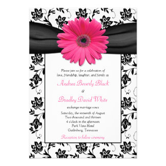 Pink Daisy Black White Floral Wedding Invitation