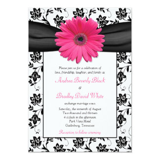 Pink Daisy Black White Floral Wedding Invitation