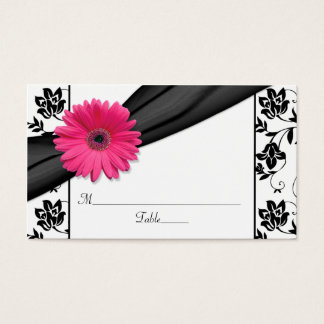 Pink Daisy Black White Floral Wedding Place Cards