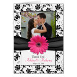 Pink Daisy Black White Floral Wedding Thank You Card