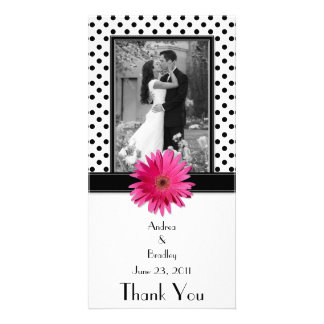 Pink Daisy Black White Polka Dot Wedding Photocard Card