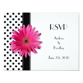 "Pink Daisy Black White Polka Dot Wedding RSVP 4.25"" X 5.5"" Invitation Card"
