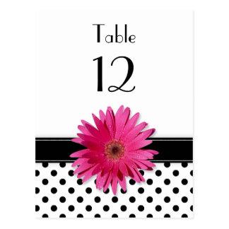 Pink Daisy Black White Polka Dot Wedding Table Postcard