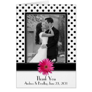 Pink Daisy Black White Polka Dot Wedding Thank You Greeting Card