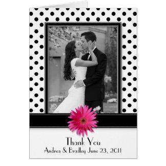 Pink Daisy Black White Polka Dot Wedding Thank You Greeting Card
