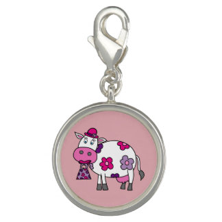 Pink Daisy Cow Photo Charm