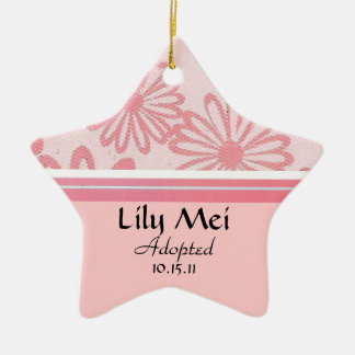 Pink Daisy Floral Adoption Announcement Ceramic Star Ornament