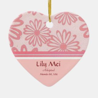 Pink Daisy Floral Adoption Announcement Keepsake Ceramic Ornament