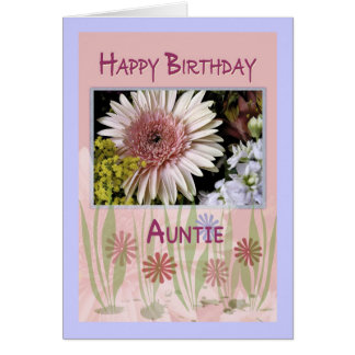 Pink Daisy Floral Bouquet, Auntie, Birthday Card