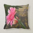 Pink Daisy Floral; Scripture Verse God's Strength Throw Pillow