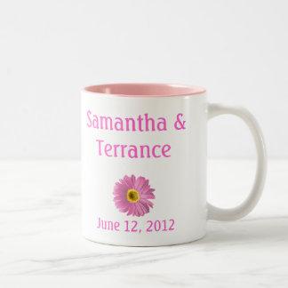 Pink Daisy Flower Customizable Two-Tone Coffee Mug