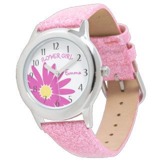 Pink Daisy Flower Girl Watch