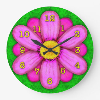 Pink Daisy Flower on Green Beautiful Large Clock