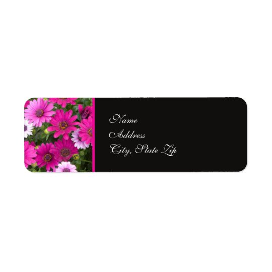 Pink Daisy Flower Return Address Label