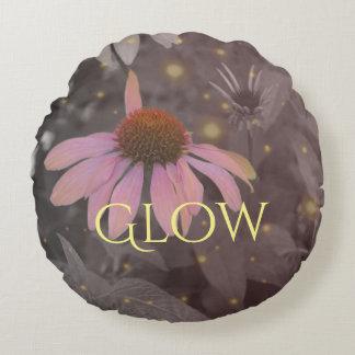 Pink daisy flower round throw pillow