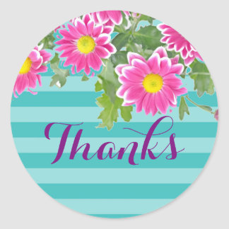 "Pink Daisy Flowers on Turquoise Stripes ""Thanks"" Round Sticker"