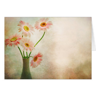Pink Daisy Flowers Vase Daisies Watercolor Flower Card