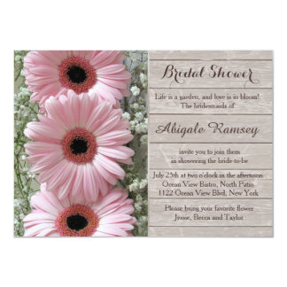 Pink daisy gerbera on wood Bridal Shower Card