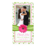 Pink Daisy Green Floral Ribbon Wedding Thank You Picture Card