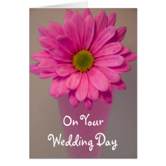 Pink Daisy in Vase Wedding Day Card