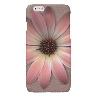 Pink Daisy on Taupe Leather Print