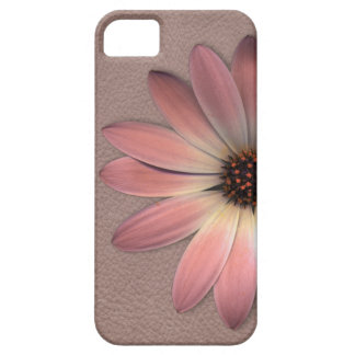 Pink Daisy on Taupe Leather Print iPhone 5 Case