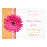 Pink Daisy Orange Plaid Recipe Bridal Shower Personalized Invite