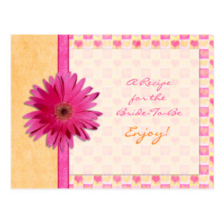 Pink Daisy Orange Recipe Card for the Bride to Be