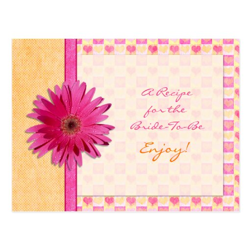 Pink Daisy Orange Recipe Card for the Bride to Be Postcard