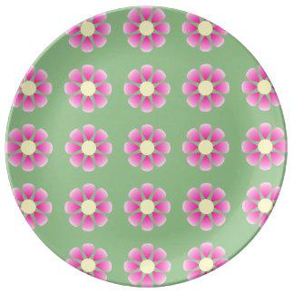 Pink daisy pattern plate
