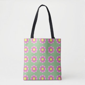 Pink daisy pattern tote bag