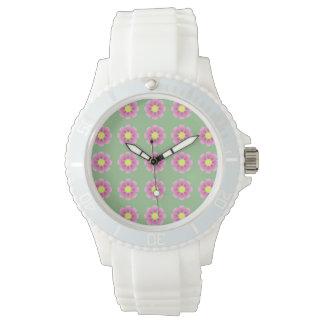 Pink daisy pattern watch