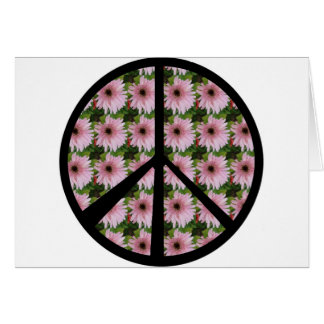 Pink Daisy Peace Sign Card