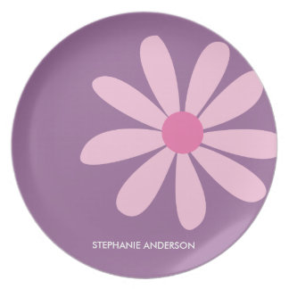 Pink Daisy Personalized Designer Dinnerware/Plate Party Plates