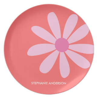 Pink Daisy Personalized Designer Dinnerware/Plate Plate