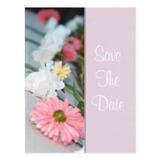Pink Daisy & Rose Save The Date Postcard