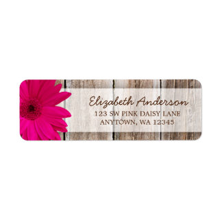 Pink Daisy Rustic Barn Wood Address Labels