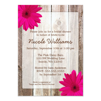 "Pink Daisy Rustic Barn Wood Bridal Shower 5"" X 7"" Invitation Card"