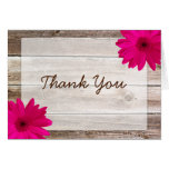 Pink Daisy Rustic Barn Wood Thank You Greeting Cards