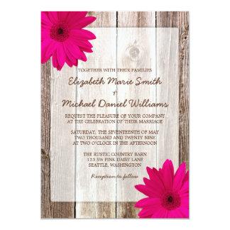 "Pink Daisy Rustic Barn Wood Wedding 5"" X 7"" Invitation Card"